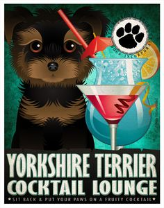Yorkshire Terrier Drinking Dogs Original Art by DogsIncorporated
