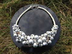 Eco design linen necklace by EcoKorale on Etsy