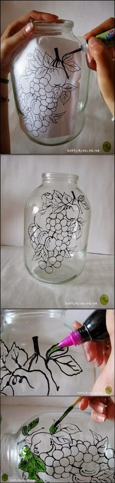 , Diy Projects: DIY Glass Art Probably with a different picture though is creative. , Diy Projects: DIY Glass Art Probably with a different picture though is creative inspiration for us. Get more photo about home decor related with by l. Glass Bottle Crafts, Bottle Art, Glass Bottles, Wine Bottles, Painted Bottles, Wine Glass, Decorated Bottles, Wine Corks, Mason Jar Crafts