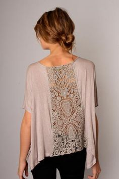 T shirt. remake with inserted lace panel.