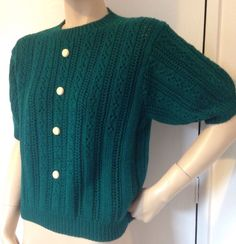VINTAGE 70s PINE GREEN KNITTED JUMPER TOP RETRO WWII 1940s/50s STYLE ROCKABILLY