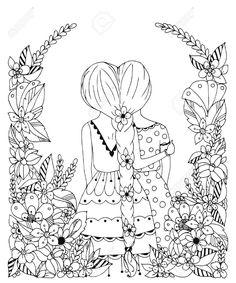 54512461-Vector-illustration-zentangl-girl-friend-in-a-flower-frame-doodle--Stock-Photo.jpg (1084×1300)