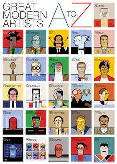 """In his """"Great Modern Artists: A to Z"""" poster, UK-based graphic designer Andy Tuohy celebrates 26 of the finest artists of the 20th century"""