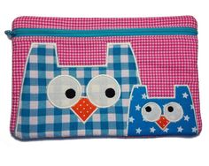 Handmade one of a kind name pouch, lined pouch, owlie, owl pouch, wallet, zipper bag, zipper pouch, owls, baby owl