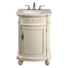 Home Decorators Collection Chelsea 22 in. Vanity in Antique White with Marble Vanity Top in at The Home Depot This would be perfect in our bathroom! Granite Vanity Tops, Marble Vanity Tops, Marble Top, White Marble, White Sink, White Vanity Bathroom, Vanity Set, Vanity Cabinet, Small Bathroom