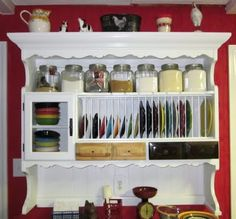 another bungalow plate rack made from old hutch top LOVE THIS for my fiesta dishes! & A plate rack and shelving unit for mounting on the wall. Perfect ...