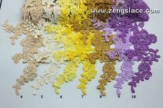 Venise lace applique, bridal lace applique, guipure lace applique with flower patterns, 26 colors to choose. LA-26