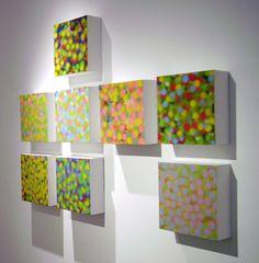 """Yang Hong, Dots (1-12), mixed media on panel, 11"""" x 11"""" x 3.5"""""""