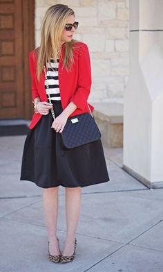 Full skirt, patterned shirt, bright cardigan or blazer, fun shoes