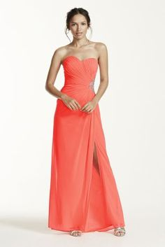 Get in on the coral craze with this jersey prom dress from David's Prom.