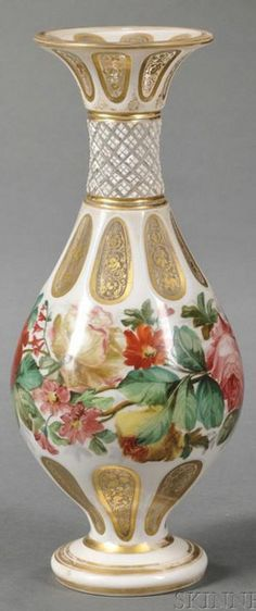 Bohemian Glass; Vase, Baluster, White Cut to Clear, Floral Band, Enameled, 10 inch.