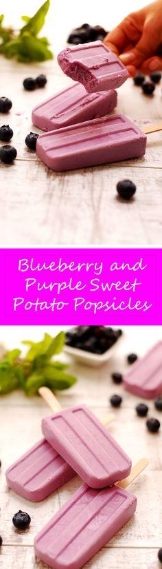 Blueberry and Purple Sweet Potato Popsicles - Arthelais Corazon - Blueberry and Purple Sweet Potato Popsicles Blueberry and Purple Sweet Potato Vegan Popsicles! Ube Recipes, Banana Recipes, Vegan Sweets, Vegan Desserts, Vegan Food, Whole Foods Vegan, Gelato Recipe, Yogurt Bar, Deserts