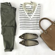 olive jeans leopard flats striped sweater casual fall outfit camel bag