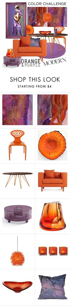"""Color Challenge: Orange and Purple"" by carola-corana ❤ liked on Polyvore featuring interior, interiors, interior design, home, home decor, interior decorating, MOROSO, Blu Dot, Half13 and Esque Studio"
