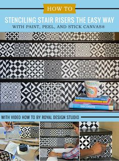 Trendy home decor project idea: Learn how to stencil and paint stairs with Moroccan Tile Stencils and removable canvas in this DIY video tutorial.