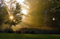 Statue of the Sacred Heart of Jesus on a June morning. Notre Dame, IN. been here many a time, gorgeous.