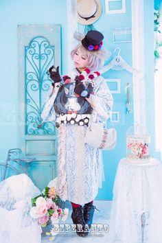 アリス白ウサギ風着物撮影 手作りレースのお着物をチョイス ドットのウサギの帯に一目惚れ♪
