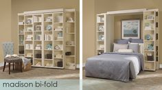 Love this Murphy Bed The ultimate in comfort. This bed features bi-fold bookcase doors which fold out of the way when it's time for bed – a perfect addition to any room. Murphy Bed Ikea, Murphy Bed Plans, Horizontal Murphy Bed, Modern Murphy Beds, Folding Walls, Bookcase Door, Bed Wall, Panel Bed, Decorate Your Room