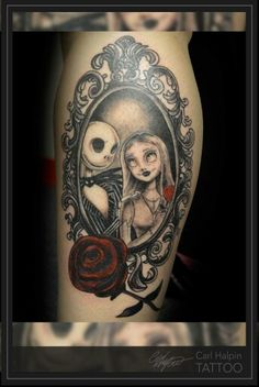My Jack and Sally tattoo. Nightmare before Christmas tattoo by Carl Halpin.