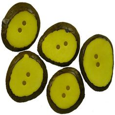 Set of 5 Small Yellow Tagua Sliced Buttons from Ecuador Handmade Fair Trade.