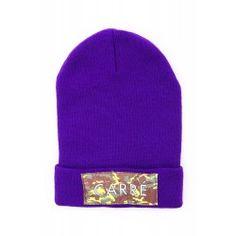 Carre - Purple Camo Patched Fold Beanie // This is super warm, such a legit colour purple