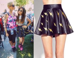 Lucy Hale was wearing this lightning bolt printed skirt on the set of Pretty Little Liars yesterday! Forever 21 Shocking Faux Leather Skater...