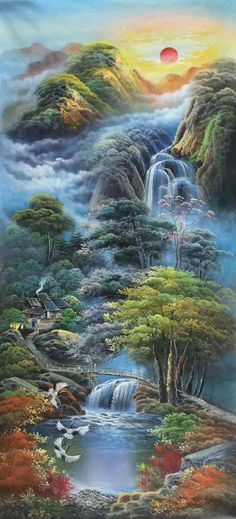 Modern art decor abstract paintings home 32 ideas Fantasy Art Landscapes, Fantasy Landscape, Landscape Art, Landscape Paintings, Abstract Paintings, Nature Paintings, Beautiful Paintings, Beautiful Landscapes, Waterfall Paintings