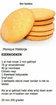 Eierkoeken Dutch Recipes, Clean Recipes, Low Carb Recipes, Baking Recipes, Snack Recipes, Dessert Recipes, Healthy Sweets, Healthy Baking, Happy Foods