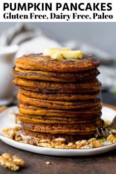 These fluffy coconut flour pumpkin pancakes are incredibly delicious and very lightly and naturally sweetened with dates! It is the perfect paleo breakfast that should be enjoyed year round, and they are gluten free, dairy free, low carb and paleo. Best Paleo Recipes, Real Food Recipes, Yummy Food, Primal Recipes, Paleo Meals, Paleo Food, Flour Recipes, Vegetarian Food, Free Recipes