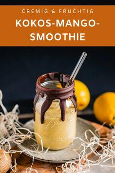 Du willst ein Rezept für einen cremiger Fruchtsmoothie? Hier ist ein leckerer Drink aus Mango, Kokos und Kiwi. Mango Drinks, Avocado, Juices, Chocolate Fondue, Kiwi, Desserts, Food, Banana, Peanut Butter