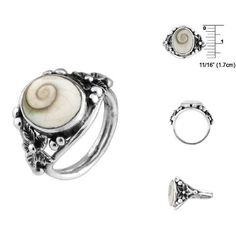 Buds and Flowers Sterling Silver Ring with Eye of Shiva Shell Inlay Avend Concepts rings. $32.95