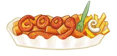 Germany celebrates the birthday of Herta Heuwer who invented the take-out dish, currywurst. Google Doodles, Bratwurst, Street Food, Food Art, Favorite Recipes, Stuffed Peppers, Homemade, Snacks, Dishes