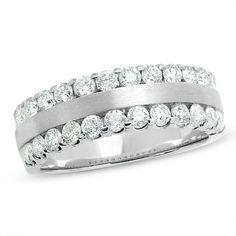1 CT. Diamond Two Row Band in 14K White Gold