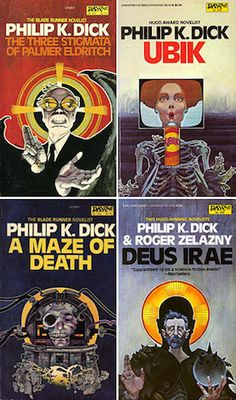 Philip K. Dick novels. Covers illustrated by Bob Pepper. Best Book Covers, Vintage Book Covers, Book Cover Art, Book Cover Design, Cyberpunk, Classic Sci Fi Books, Sci Fi Novels, Fiction Novels, K Dick