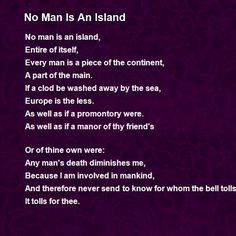 An essay about no man is an island