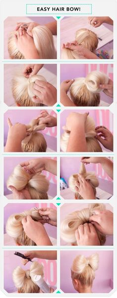Five interesting DIY hair bow tutorials. Find out how to make bow out of your hair. Make bow in your hair as hair bow bun, or together with brad,fishtail. Beauty Tutorials, Beauty Hacks, Hair Tutorials, Beauty Ideas, Easy Hairstyles, Girl Hairstyles, Beautiful Hairstyles, Wedding Hairstyles, Everyday Hairstyles