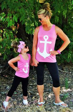 mommy and me, anchor tanks, matching mother daughter shirts, mommy daughter shirts, mom and daughter tank top