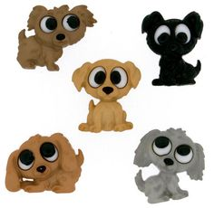 Playing Puppies Plastic  Buttons / Sewing by Universalideas, $3.99