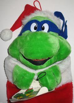 Vintage 1990 Teenage Mutant Ninja Turtle Christmas stocking. #teenagemutantninjaturtles #christmasstocking