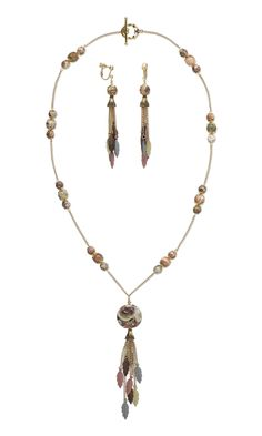Jewelry Design - Single-Strand Necklace and Earring Set with Rainbow Rhyolite Gemstone Beads, Brass Drops and Gold-Plated Bead Caps - Fire Mountain Gems and Beads