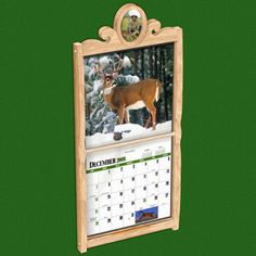 """Calendar Holder DIY Woodcraft Pattern #2318 - Display your favorite wall calendar in this very attractive calendar frame. It dresses up most any calendar so you can hang it most any place. It holds a pencil or pen in the tray below so you can record those important dates at a whim. 32""""H x 14"""" W. Pattern by Sherwood Creations #woodworking #woodcrafts #pattern #craft #furniture #calendar"""