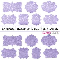 "Digital clipart labels: ""LAVENDER BOKEH & GLITTER frames"" bokeh and glitter clipart frames, labels, tags on lavender background by clairetale. Explore more products on http://clairetale.etsy.com"