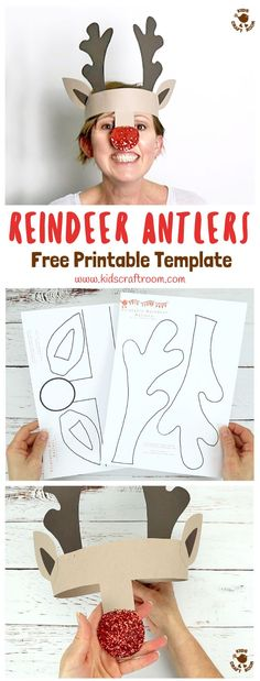 PRINTABLE REINDEER ANTLERS HEADBAND - Make your own gorgeous and fun Reindeer Antlers. Print them onto plain card to paint or trace them straight onto coloured card. Easy Christmas fun for kids! via Craft Printable Reindeer Antlers Hat Kids Crafts, Childrens Christmas Crafts, Christmas Crafts For Kids To Make, Preschool Christmas, Simple Christmas, Christmas Crafts For Kindergarteners, Christmas Cards, Santa Crafts, Christmas Room