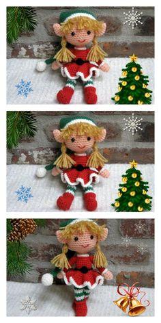 Amigurumi Little Christmas Elf Free Pattern – Free Amigurumi Patterns Crochet Christmas Decorations, Christmas Crochet Patterns, Holiday Crochet, Christmas Elf Doll, Christmas Crafts, Christmas Tree, Doll Amigurumi Free Pattern, Magic Ring Crochet, Crochet Dolls