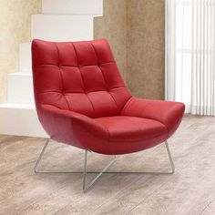 Medici Tufted Leather Modern Accent Chair | Zuri Furniture