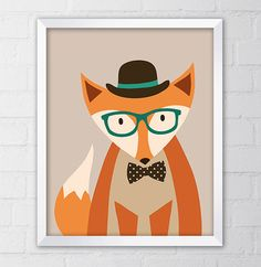 Hipster Fox Art Print, 8x10 Printable Digital file, Wall art, Fox poster, Home decor, Illustration, Instant Download, Retro, Indie