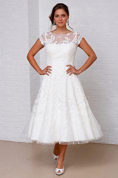 Short sleeved wedding dress at David's Bridal, Spring 2013