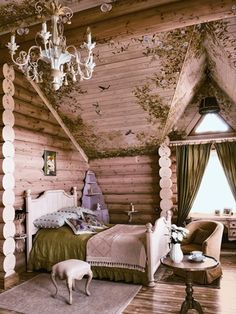 13 Enchanting Homes That Are Straight Out of a Fairytale Log cabin bedrooms Fairytale bedroom Cabin bedroom