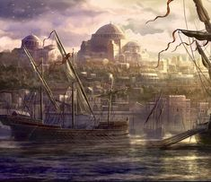 Fantasy City, Byzantine Art, Sailing Ships, Renaissance, Cities, Random Stuff, Empire, Greek, Boat