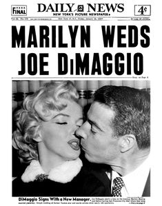 Marilyn Monroe and Joe DiMaggio pictured on their wedding day, January 14th 1954, on the front cover of New York's Daily News newspaper, January 15th 1954.